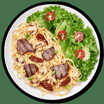 Салат паста з яловичиною