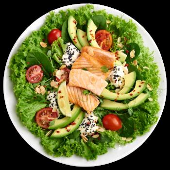 Салат з лососем та страчателою
